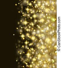 gylden, stjerner, baggrund, lys