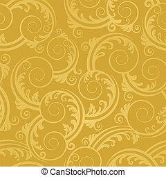 gylden, swirls, tapet, seamless