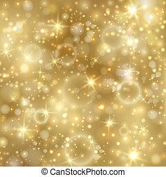gylden, twinkly, stjerner, baggrund, lys