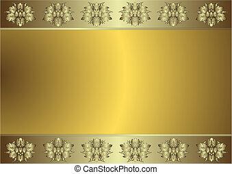 gylden, (vector), baggrund, blide, sølvlignende