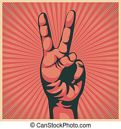 hånd, sejr underskriv