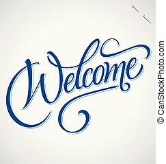 hånd, velkommen, (vector), tekstning