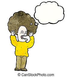 hår, stor, cartoon, mand