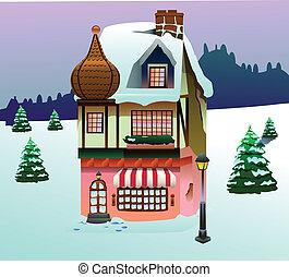 hæfte, hus, kunst, sne