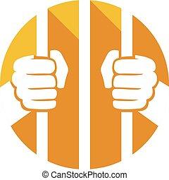 hænder, fængsel, holde, barer, lejlighed, ikon