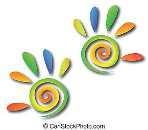 hænder, farvet, spiral, vektor, fingers.