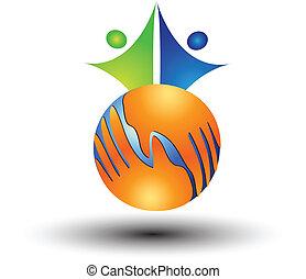 hænder, folk, logo, verden, omkring