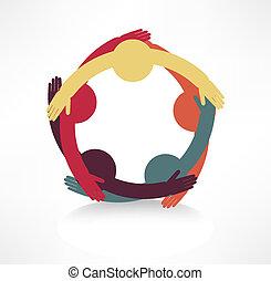 hænder, forbinde, ikon