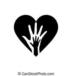 hænder, hjerte, to