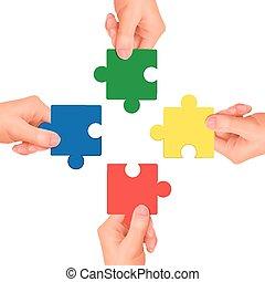 hænder, holde, stykker, jigsaw, concept:, samarbejde