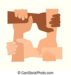 hænder, ikon, hjælp, folk