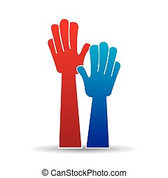 hænder, tegn, raised., oppe, ikon