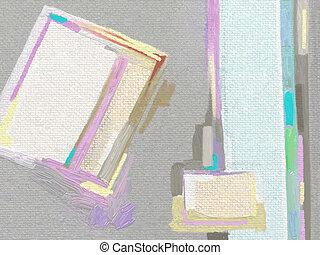 hæve, abstrakt, original, hånd, digitale, maleri, komposition