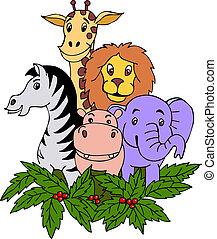 hæve, safari, dyr ræk