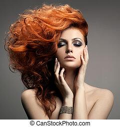hairstyle, portrait., skønhed