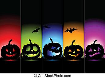 halloween, bannere, konstruktion, din