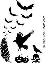 halloween, elementer, vektor, konstruktion