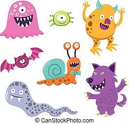halloween, monstrum, bogstaverne, dyr