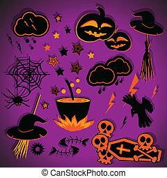 halloween, set., vektor