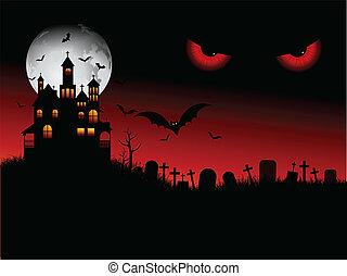 halloween, uhyggelige, scene