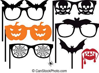 halloween, vektor, props, boden