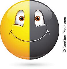 halve, smiley, sort, racisme, zeseed