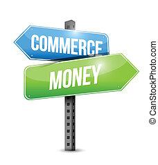 handel, penge, illustration, tegn, konstruktion, vej
