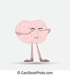 hans, aflukket, illustration, hjerne, vektor, menneske, øjne