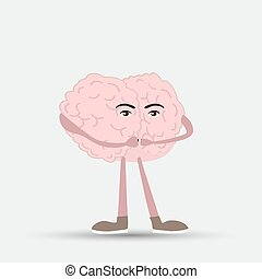 hans, aflukket, illustration, hjerne, vektor, menneske gab