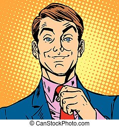 hans, det straightens, avatar, slips, portræt, mand