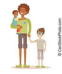 hans, family., far, to, har, time., væddeløb, blandet, børn, rar