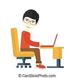 hans, siddende, japansk, infront, computer., guy