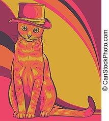 hat, kat, illustration, vektor