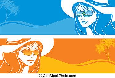 hat, pige, sunglasses