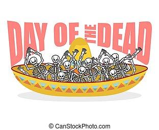 hat., sombrero., feast, multi-colored, mexico., kranium, ferie, emblem, national, etniske, skeletter, dag, illustration, mexikansk, afdødte