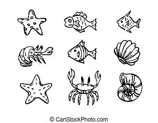hav, vektor, skabningerne, kunst, beklæde