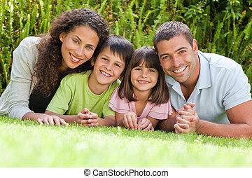 have, derned, liggende, familie, glade