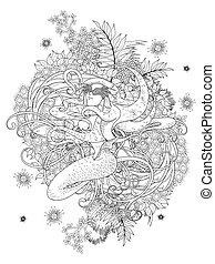 havfrue, coloring, side, voksen