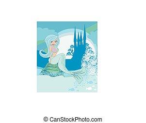 havfrue, fish, illustration, slot, smukke