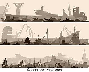 havn, mange, forskellige, ships.