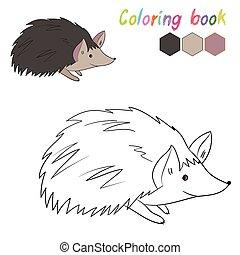 hedgehog, bog, boldspil, coloring, opsætning, børn