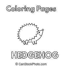 hedgehog, cartoon, bog, coloring