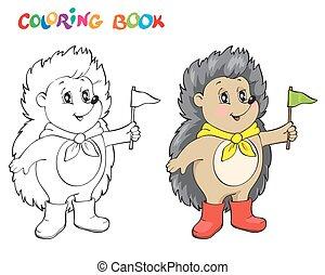 hedgehog., coloring, side, bog, wiht, eller