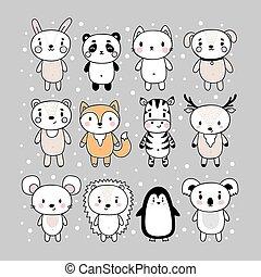 hedgehog, stram, bunny, panda, kat, pingvin, cute, animals., rådyr, zebra, mus, bjørn, hånd, cartoon, characters., ræv, sæt, koala, hund, morsom