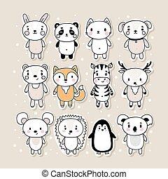 hedgehog, stram, bunny, panda, kat, pingvin, stickers, cute, animals., rådyr, zebra, mus, bjørn, hånd, cartoon, characters., ræv, sæt, koala, hund, morsom