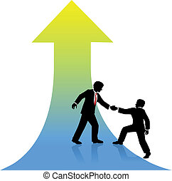held, firma, oppe, hjælper, person, partner