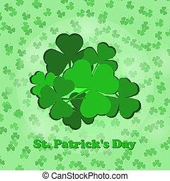 helgen, leaves., patrick's, shamrock, grøn baggrund, dag