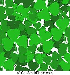 helgen, seamless, leaves., shamrock, grøn baggrund, dag, patrick's