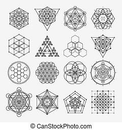 hellige, symboler, geometri, vektor, konstruktion, spirituality, hipster, alkymi, religion, elements., filosofi