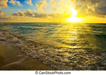 hen, solopgang, havet